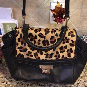 Calvin Klein leather and calf hair cheetah satchel